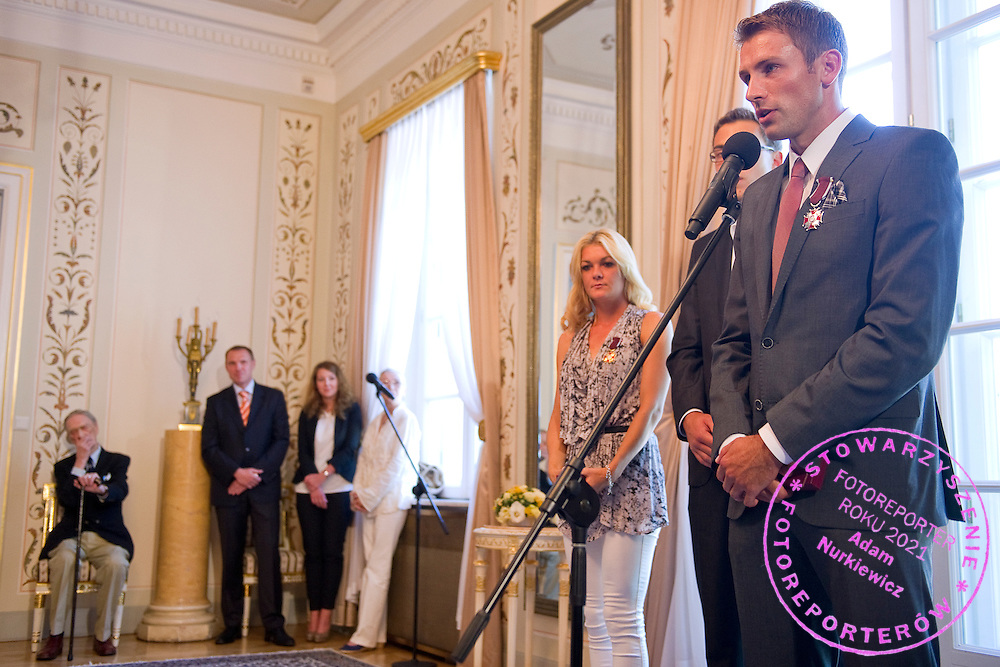 (R) Lukasz Kubot speaks during meeting in Belvedere Palace in Warsaw, Poland.<br /> <br /> Poland, Warsaw, July 08, 2013<br /> <br /> Picture also available in RAW (NEF) or TIFF format on special request.<br /> <br /> For editorial use only. Any commercial or promotional use requires permission.<br /> <br /> Photo by © Adam Nurkiewicz / Mediasport
