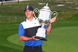 May 19, 2019 - Farmingdale, NY, U.S. - FARMINGDALE, NY - MAY 19:  Brooks Koepka of the United States poses with the Wanamaker Trophy after winning the 2019 PGA Championship at the Bethpage Black course with a score of 8 under par on May 19, 2019 in Farmingdale, New York.(Photo by Rich Graessle/Icon Sportswire) (Credit Image: © Rich Graessle/Icon SMI via ZUMA Press)