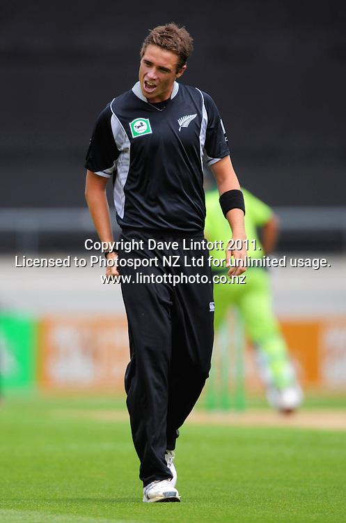 NZ bowler Tim Southee. First one-day international cricket match - New Zealand v Pakistan at Westpac Stadium, Wellington, New Zealand on Saturday, 22 January 2011. Photo: Dave Lintott / photosport.co.nz