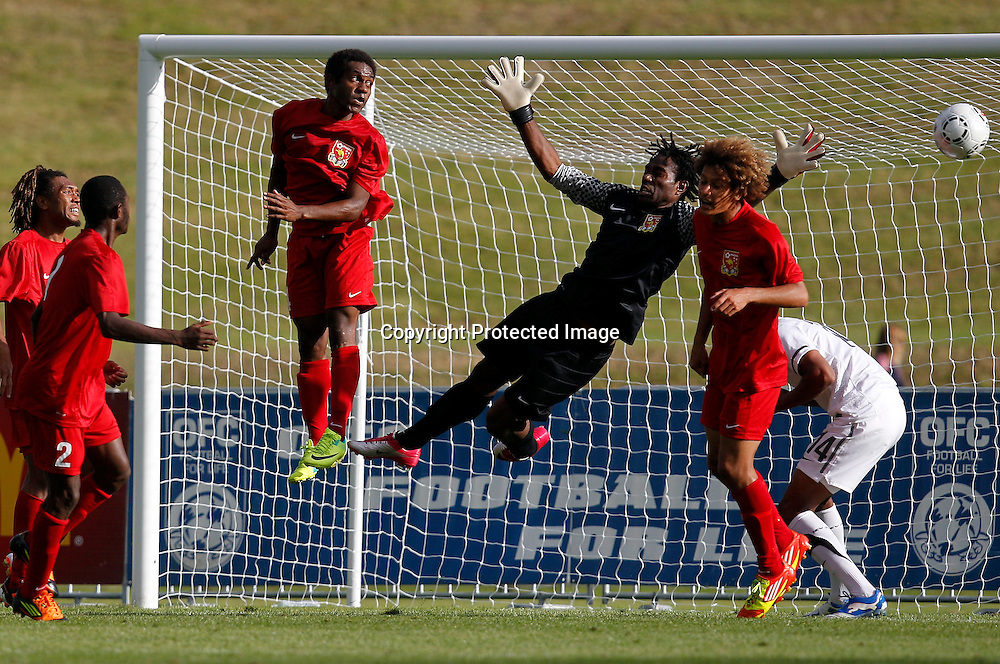 PNG's keeper Ronald Warisan stretches out. OFC Men's Olympic Qualifier New Zealand 2012, New Zealand v Papua New Guinea, Owen Delany Park Taupo, Friday 16th March 2012. Photo: Shane Wenzlick