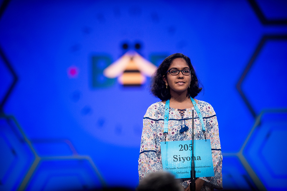 Siyona Mishra, 13, from Orlando, Fla., participates in the finals of the 2017 Scripps National Spelling Bee on Thursday, June 1, 2017 at the Gaylord National Resort and Convention Center at National Harbor in Oxon Hill, Md.      Photo by Pete Marovich/UPI