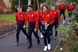 CARDIFF, WALES - Friday, November 16, 2018: Wales' Ethan Ampadu takes photographs of his team-mates on a pre-match walk at the Vale Resort ahead of the UEFA Nations League Group Stage League B Group 4 match between Wales and Denmark. (Pic by David Rawcliffe/Propaganda)