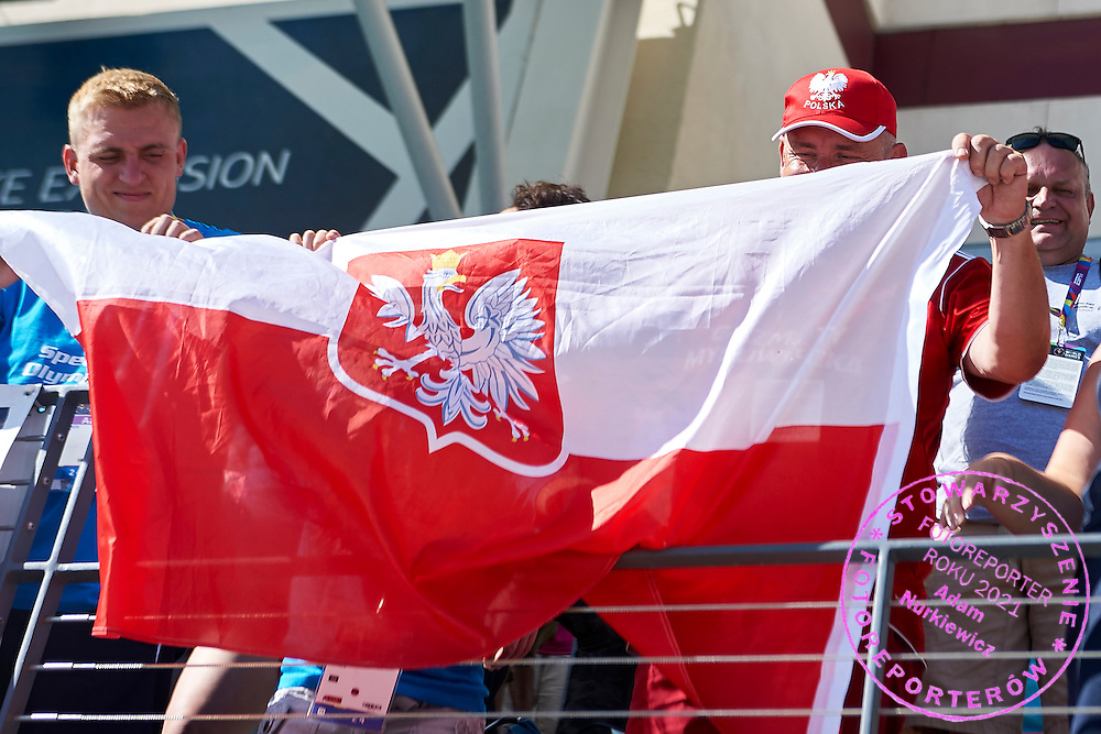 Polish supporters in action while 25 meters backstroke competition during second day of the Special Olympics World Games Los Angeles 2015 on July 26, 2015 on Uytengsu Aquatics Centre at University of Southern California in Los Angeles, USA.<br /> USA, Los Angeles, July 26, 2015<br /> <br /> Picture also available in RAW (NEF) or TIFF format on special request.<br /> <br /> For editorial use only. Any commercial or promotional use requires permission.<br /> <br /> Adam Nurkiewicz declares that he has no rights to the image of people at the photographs of his authorship.<br /> <br /> Mandatory credit:<br /> Photo by &copy; Adam Nurkiewicz / Mediasport