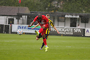Anthony Straker has a shot in the rain during the Friendly match between Harrogate Town and York City at Wetherby Road, Harrogate, United Kingdom on 25 July 2015. Photo by Simon Davies.