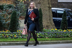 © Licensed to London News Pictures. 09/01/2018. London, UK. Secretary of State for Northern Ireland Karen Bradley arrives on Downing Street for the first meeting of the Cabinet after Prime Minister Theresa May's reshuffle. Photo credit: Rob Pinney/LNP