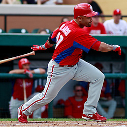March 9, 2011; Lakeland, FL, USA; Philadelphia Phillies third baseman Placido Polanco (27) during a spring training exhibition game against the Detroit Tigers at Joker Marchant Stadium.   Mandatory Credit: Derick E. Hingle