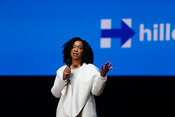 November 5, 2016 - Philadelphia, Pennsylvania, United States - TV producer Shonda Rimes stumps for Hillary. Hillary Clinton made a campaign stop in Philadelphia's Mann Center for the Performing Arts accompanied by pop star Katy Perry, who sang several of her classic stand-bys, including ''Roar!'' which has been used by the Clinton campaign in their appeals. Prior to the candidate's appearance, the audience heard from Senator Corey Booker, US Representative Bob Brady, Senatorial candidate Katie McGinty and actress Debra Messing. TV producer Shonda Rimes introduced Mrs. Clinton to packed & enthusiastic crowd. (Credit Image: © Andy Katz/Pacific Press via ZUMA Wire)