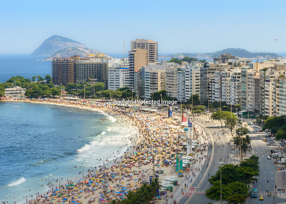 Copacabana Beach and Sugar Loaf Mountain aerial view, Rio de Janeiro,Brazil. Tilt shift effect