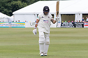 Chris Dent leaves the field having made 125 during the Specsavers County Champ Div 2 match between Gloucestershire County Cricket Club and Leicestershire County Cricket Club at the Cheltenham College Ground, Cheltenham, United Kingdom on 16 July 2019.