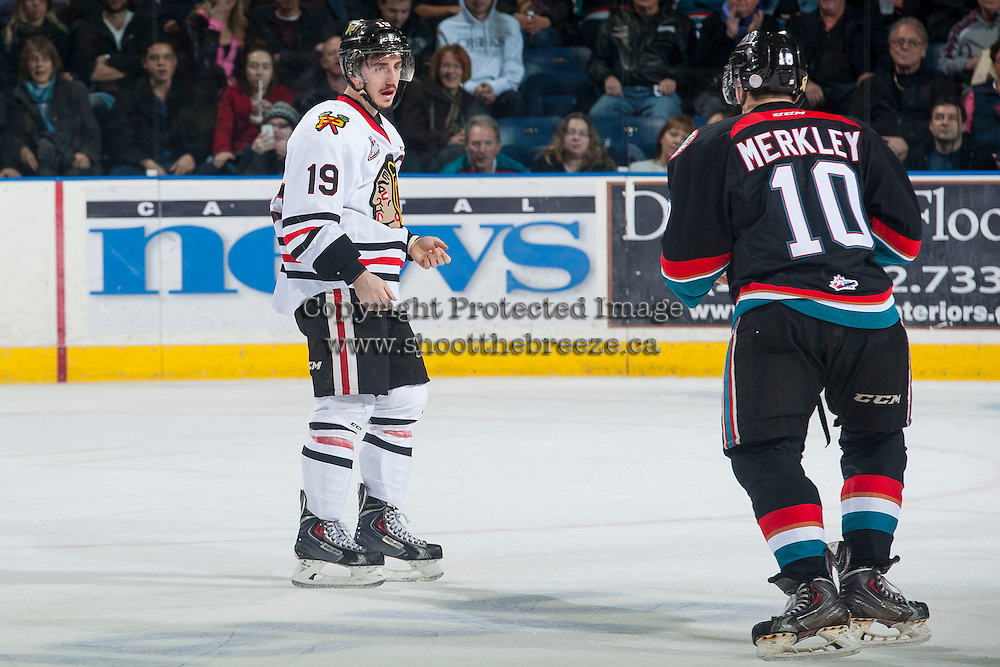 KELOWNA, CANADA - NOVEMBER 22: Nick Merkley #10 of Kelowna Rockets gets in the face of Nicolas Petan #19 of Portland Winterhawks on November 22, 2014 at Prospera Place in Kelowna, British Columbia, Canada.  (Photo by Marissa Baecker/Shoot the Breeze)  *** Local Caption *** Nicolas Petan; Nick Merkley;