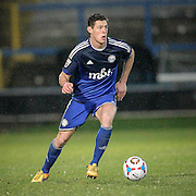 James Bolton (Halifax) runs forward into attack during the Conference Premier League match between FC Halifax Town and Guiseley at the Shay, Halifax, United Kingdom on 5 December 2015. Photo by Mark P Doherty.