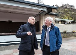 International architects fly in to Edinburgh for their first sight of West Princes Street Gardens as they compete to design a new venue to replace the Ross Bandstand.<br /> <br /> Chair Norman Springford and Project Manager David Ellis from the Ross Development Trust provide visiting teams with a tour of the Gardens and existing Bandstand site.<br /> <br /> A competition to replace the Ross Bandstand in the heart of Edinburgh's West Princes Street Gardens with a new landmark Pavilion has received worldwide interest from architects and designers.<br /> <br /> Entries from 125 teams spanning 22 countries and made of 400 individual firms have been narrowed down to seven finalists. <br /> <br /> The seven finalists will be invited to create concept designs for the £25m project brief, which includes a new landmark venue to replace the bandstand, a visitor centre and subtle updates to West Princes Street Gardens.<br /> <br /> Each of the finalist teams will be led by the following architects:<br /> <br /> - Adjaye Associates (UK)<br /> - BIG Bjarke Ingels Group (Denmark)<br /> - Flanagan Lawrence (UK)<br /> - Page \ Park Architects (UK)<br /> - Reiulf Ramstad Arkitekter (Norway)<br /> - wHY (USA)<br /> - William Matthews Associates (UK) and Sou Fujimoto Architects (Japan)<br /> <br /> Pictured: Norman Springford with the project lead for BIG Bjarke Ingels Group