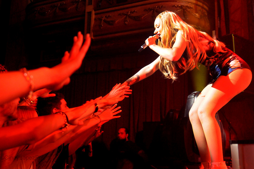 Iggy Azalea sings and reaches out to her fans during her show at the Corona Theatre. April 2014. (Cult MTL)