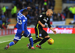 Junior Hoilett of Cardiff City competes with Jiri Skalak of Brighton & Hove Albion- Mandatory by-line: Nizaam Jones/JMP - 03/12/2016 -  FOOTBALL - Cardiff City Stadium - Cardiff, Wales -  Cardiff City v Brighton and Hove Albion - Sky Bet Championship