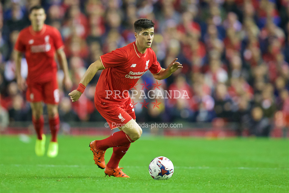 LIVERPOOL, ENGLAND - Wednesday, October 28, 2015: Liverpool's Joao Carlos Teixeira in action against AFC Bournemouth during the Football League Cup 4th Round match at Anfield. (Pic by David Rawcliffe/Propaganda)