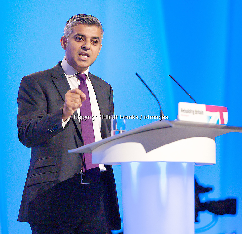 Rt Hon Sadiq Khan MP, Shadow Lord Chancellor and Shadow Secretary of State for Justice speech during the Labour Party Conference in Manchester, October 3, 2012. Photo by Elliott Franks / i-Images.