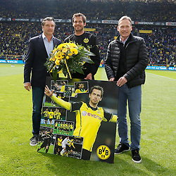 03.05.2014, Signal Iduna Park, Dortmund, GER, 1. FBL, Borussia Dortmund vs TSG 1899 Hoffenheim, 33. Runde, im Bild Verabschiedung von Manuel Friedrich (Borussia Dortmund #2) mit Sportdirektor Michael Zorc (Borussia Dortmund) und Geschaetsfuehrer Hans-Joachim Watzke (Borussia Dortmund) // during the German Bundesliga 33th round match between Borussia Dortmund and TSG 1899 Hoffenheim at the Signal Iduna Park in Dortmund, Germany on 2014/05/03. EXPA Pictures © 2014, PhotoCredit: EXPA/ Eibner-Pressefoto/ Schueler<br /> <br /> *****ATTENTION - OUT of GER*****