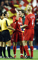 Photo: Javier Garcia/Back Page Images Mobile +447887 794393 Liverpool v Olimpiacos, UEFA Champions League 08/12/04, Anfield<br />Steven Gerrard celebrates with Sami Hyppia at full time