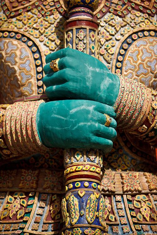 Detail of a statue of a demon at the Grand Palace and Wat Phra Kaew, Bangkok, Thailand
