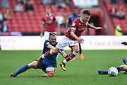 Jamie Paterson (20) of Bristol City skips the challenge by Sebastian Larsson (16) of Hull City during the EFL Sky Bet Championship match between Bristol City and Hull City at Ashton Gate, Bristol, England on 21 April 2018. Picture by Graham Hunt.