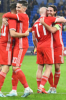 Football - 2019 / 2020 International Friendly - Wales vs. Belarus<br /> <br /> Daniel James of Wales celebrates scoring his team's first goal  at Cardiff City Stadium.<br /> <br /> COLORSPORT/WINSTON BYNORTH