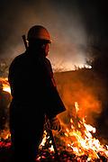 24 March 2012 17.38pm.<br /> A fire attendant at the annual Aso Shrine fire festival.