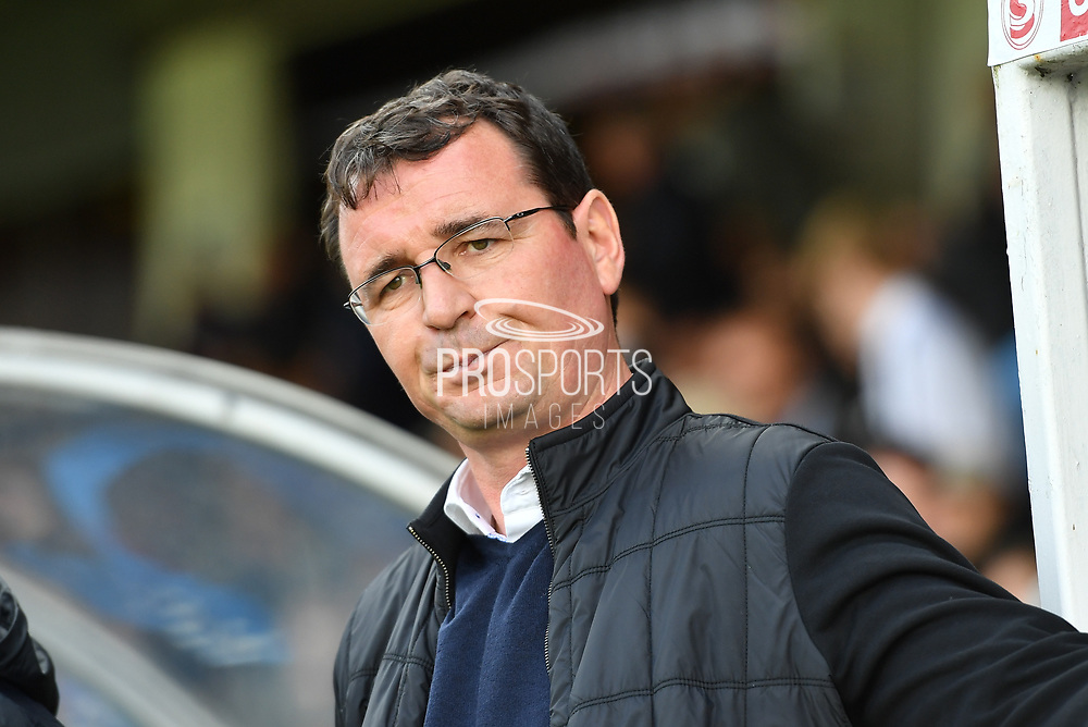 Blackpool FC manager Gary Bowyer during the EFL Sky Bet League 1 match between Scunthorpe United and Blackpool at Glanford Park, Scunthorpe, England on 9 September 2017. Photo by Ian Lyall.