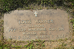 31 August 2017:   Veterans graves in Park Hill Cemetery in eastern McLean County.<br /> <br /> Louis Warner  Illinois  Private  329 Machine Gun BN  World War I  Jan 5 1895  March 5 1966