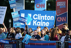 NEW YORK, Sept. 26, 2016 (Xinhua)  -- Supporters of Hillary Clinton gather before the first presidential debate at Hofstra University in New York, the United States on Sept. 26, 2016. The first of three presidential debates between the Democratic and Republican nominees, Hillary Clinton and Donald Trump, will be held Monday at Hofstra University in New York. (Xinhua/Qin Lang) (Credit Image: © Qin Lang/Xinhua via ZUMA Wire)
