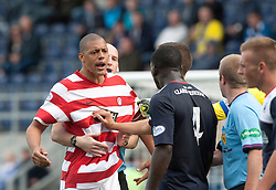 Hamilton's Mickeal Antoine-Curier booked after tussle with Falkirk's Ollie Durojaiye.<br /> half time : Falkirk 0 v  0 Hamilton, Scottish Championship 31/8/2013.<br /> &copy;Michael Schofield.