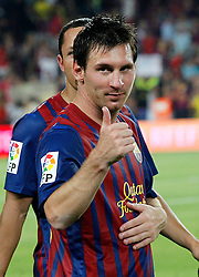 17.08.2011, Camp Nou, Barcelona, ESP, Supercup 2011, FC Barcelona vs Real Madrid, im Bild FC Barcelona's Leo Messi celebrate the victory during Spanish Supercup 2nd match.August 17,2011. EXPA Pictures © 2011, PhotoCredit: EXPA/ Alterphotos/ Acero +++++ ATTENTION - OUT OF SPAIN / ESP +++++