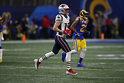 New England Patriots wide receiver Chris Hogan (15) in action during the NFL Super Bowl 53 football game against the Los Angeles Rams on Sunday, Feb. 3, 2019, in Atlanta. The Patriots defeated the Rams 13-3. (©Paul Anthony Spinelli)