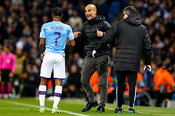Manchester City manager Pep Guardiola speaks to Raheem Sterling of Manchester City - Mandatory by-line: Robbie Stephenson/JMP - 22/10/2019 - FOOTBALL - Etihad Stadium - Manchester, England - Manchester City v Atalanta - UEFA Champions League Group Stage