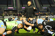 Scrum practice for Glasgow pack ahead of the 1872 Challenge Cup, Guinness Pro 14 2018_19 match between Edinburgh Rugby and Glasgow Warriors at BT Murrayfield Stadium, Edinburgh, Scotland on 22 December 2018.