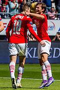 ALKMAAR - 01-05-2016, AZ - de Graafschap, AFAS Stadion, 4-1, AZ speler Vincent Janssen heeft de 1-1 gescoord, AZ speler Joris van Overeem