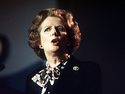 File photo dated 09/10/1985 of former Prime Minister Baroness Thatcher, as Margaret Thatcher was horrified at the prospect that Moors murderers Ian Brady and Myra Hindley could ever be released, newly released government papers reveal.