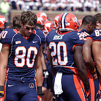 Illinois WR Spencer Harris #80 on the sidelines during the Illinois vs Charleston Southern game at Memorial Stadium, Champaign, Illinois, September 15, 2012. George Strohl/AI Wire.
