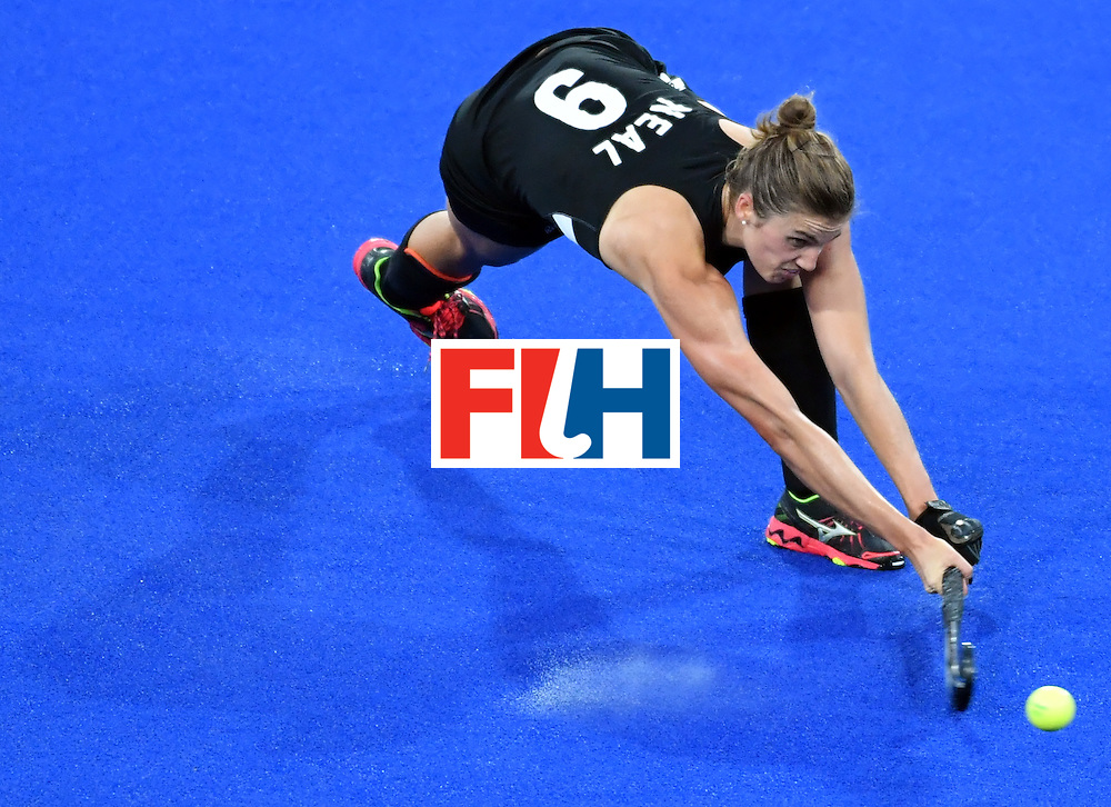New Zealand's Brooke Neal shoots the ball during the women's semifinal field hockey New Zealand vs Britain match of the Rio 2016 Olympics Games at the Olympic Hockey Centre in Rio de Janeiro on August 17, 2016. / AFP / Pascal GUYOT        (Photo credit should read PASCAL GUYOT/AFP/Getty Images)