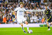 Leeds United forward Patrick Bamford (9) passes the ball during the EFL Sky Bet Championship match between Leeds United and Brentford at Elland Road, Leeds, England on 21 August 2019.