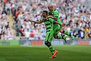 Forest Green's Keanu Marsh-Brown celebrates his goal 2-1 during the Conference Premier Final match between Forest Green Rovers and Grimsby Town FC at Wembley Stadium, London, England on 15 May 2016. Photo by Shane Healey.