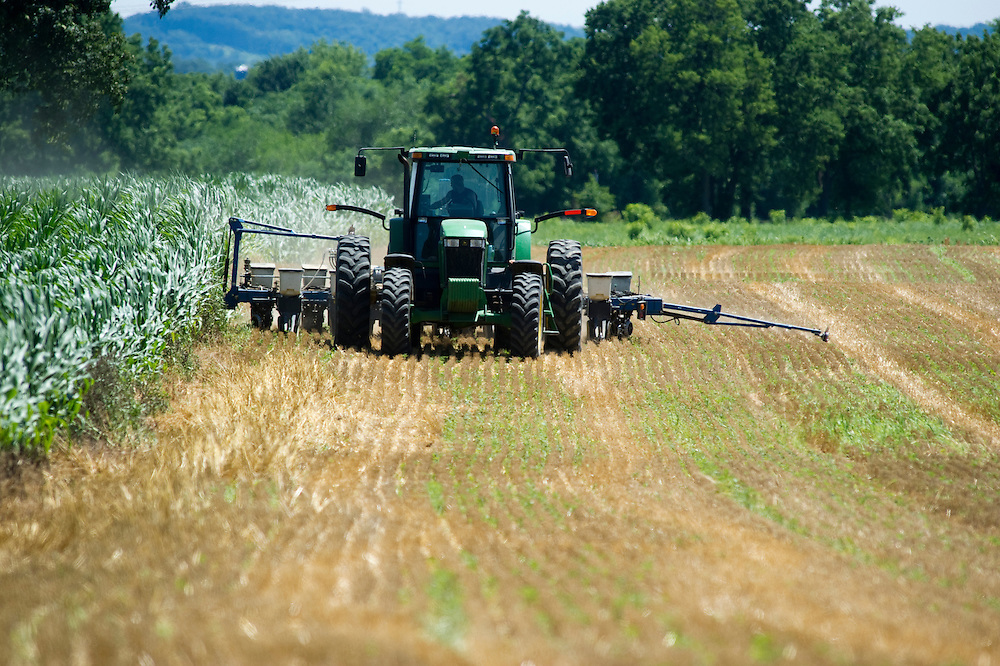 Farmer planting soybeans
