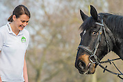 Olympian Kelly Sotherton races a horse (Murphy ridden by Hannah Brendon of Hyde Park Stables) in Rotten Row, Hyde Park to launch 2015's Whole Earth Man V Horse marathon, taking place in Llanwrtyd Wells, Wales on the 13th June. The Man v Horse Marathon began in June 1980 following a friendly dispute in a Welsh bar. The Landlord overheard the two men discussing the relative merits of men and horses running over mountainous terrain and who was more suited to it. To settle the argument the then landlord, Gordon Green, created the now long standing and international event, Man versus Horse Marathon.
