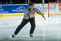 KELOWNA, CANADA - FEBRUARY 12: Linesman Tim Plamondon skates onto the ice as the Kelowna Rockets take on the Victoria Royals on February 12, 2018 at Prospera Place in Kelowna, British Columbia, Canada.  (Photo by Marissa Baecker/Shoot the Breeze)  *** Local Caption ***