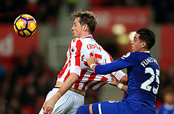 Ramiro Funes Mori of Everton challenges Peter Crouch of Stoke City - Mandatory by-line: Matt McNulty/JMP - 01/02/2017 - FOOTBALL - Bet365 Stadium - Stoke-on-Trent, England - Stoke City v Everton - Premier League
