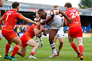 Bradford Bulls replacement Ross Peltier (17) is stopped  during the Kingstone Press Championship match between Sheffield Eagles and Bradford Bulls at, The Beaumont Legal Stadium, Wakefield, United Kingdom on 3 September 2017. Photo by Simon Davies.