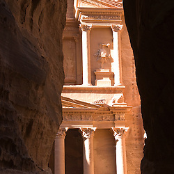 View of the Treasury from the Siq, Petra, jordan, Asia.