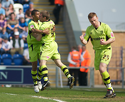 COLCHESTER, ENGLAND - Saturday, April 24, 2010: Tranmere Rovers' Ian Thomas-Moore celebrates after he scores to make it 1-1 against Colchester United during the Football League One match at the Western Community Stadium. (Photo by Gareth Davies/Propaganda)
