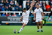 Leicester Tigers Fly-half George Ford (10) scores a penalty  during the Aviva Premiership match between Newcastle Falcons and Leicester Tigers at Kingston Park, Newcastle, United Kingdom on 29 October 2017. Photo by Simon Davies.