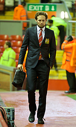 LIVERPOOL, ENGLAND - Thursday, March 10, 2016: Manchester United's Daley Blind arrives ahead of the UEFA Europa League Round of 16 1st Leg match against Liverpool at Anfield. (Pic by David Rawcliffe/Propaganda)