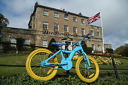 © Licensed to London News Pictures. 29/04/2016. Pateley Bridge, UK. Colourful bikes line the streets of Knaresborough in North Yorkshire as they wait for the 2016 Tour De Yorkshire to pass by. The three-day road cycling race held annually across Yorkshire is in it's second year. Photo credit : Ian Hinchliffe/LNP